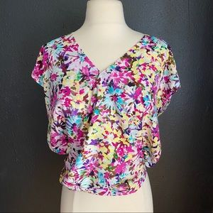 CAbi Eden Top Flower Pop Blouse Small NWT